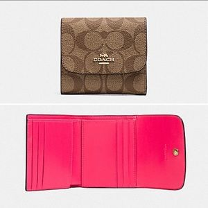 NWT Coach Signature Small Wallet Neon Pink